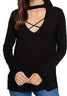 Sweet Claire Women's Blouse Choker Cross Front Shirt Long Sleeve