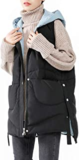 Women's Down Vest Zipper and Snap Warm Sleeveless Lightweight Casual Jackets, Stand Collar Hooded Gilet with Pockets (Color : Black, Size : L)