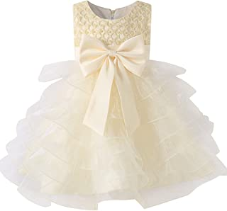 Pearl Dress Girls Tulle Flower Tutu Bow Birthday Wedding Party Dresses for Kids