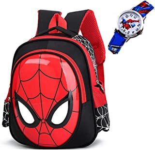 ManalCorp Spiderman Backpack with FREE SPIDERMAN WATCH INCLUDED!!!,(Black)