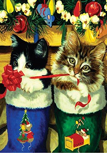 Toland Home Garden Weihnachtsstrumpf Kätzchen dekorativ Weihnachten Urlaub Katze Geschenk Band Haus Flagge – 101235 Strumpf Kätzchen Garden Flag-12.5