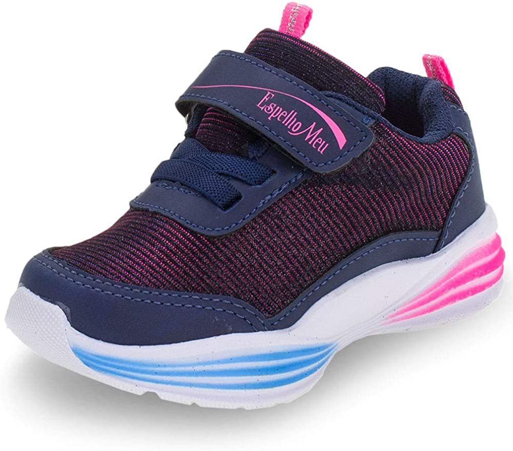 Kids' Sneaker Running Play Glitter Sparkle Velcro Comfort Casual Navy Blue (Numeric_7_Point_5)