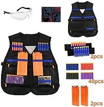 Cozywind Gilet Tactique Enfant Weste Tactique Kit pour Nerf N-Strike Elite Series vec 50 Pi/èces Fl/échettes Bullets Recharge Balle+2 Clips de rechargement Rapide+Bandes de Poignet Lunettes Protection