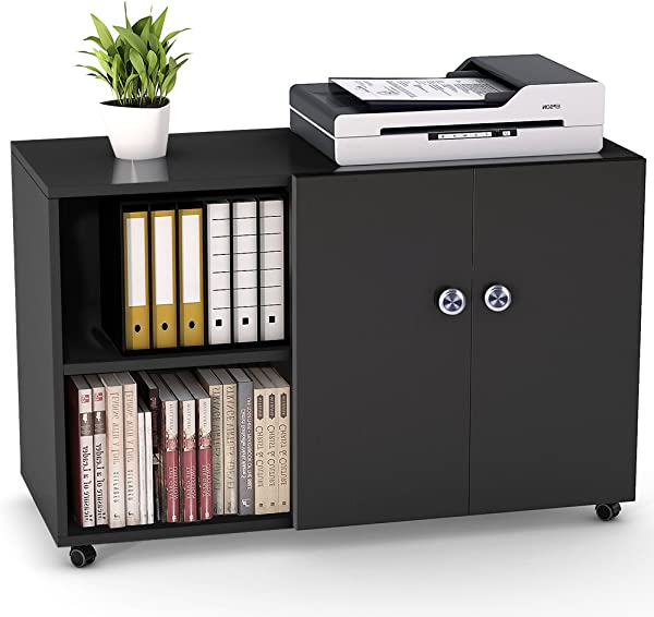 File Cabinet Tribesigns 39 Inch Mobile Lateral Filing Office Cabinet Large Printer Stand With Wheels Door And Open Shelf For Home Office Black
