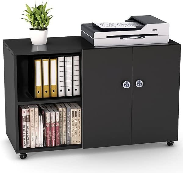 文件柜 tribedsigns 39 英寸移动横向文件办公室橱柜大型打印机支架带轮子门和打开货架家用办公室黑色