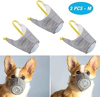 PeSandy Adjustable Dog Respirator Mask, 3 PCS Breathable Dog Muzzle Protective Mask for..