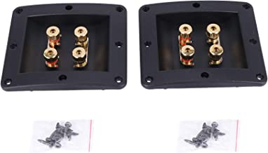 Varadyle 2Pcs Four Speaker Junction Box Audio Cable Connector Terminal Block Banana Plug Copper Gold Plated