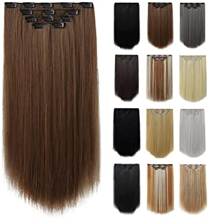 Hair Extensions,HSPCYGG Hairpieces For Hair Black Clip in Hair Extension 22 IN Straight Hair Extensions Synthetic Hair Pie...