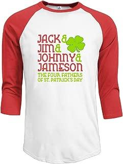 Man Jack Jim Johnny Jameson Cotton 3/4 Sleeve Raglan T Shirt Black