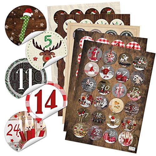 5 x 24 verschiedene Adventskalender Zahlen Aufkleben - für 5 Weihnachtskalender - runde Zahlenaufkleber 4 cm rot braun grün schwarz weiß Kalender selbermachen