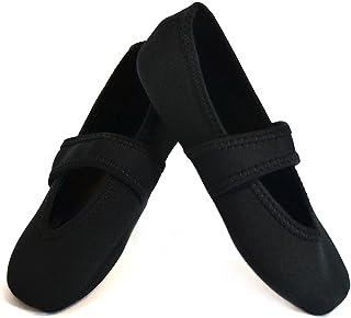 Nufoot Betsy Lou Fuzzies - Zapatos para mujer, plegables y flexibles, calcetines antideslizantes, zapatillas de viaje, zapatos de ejercicio, zapatos de baile, yoga, zapatos de casa, zapatillas de interior, Negro, M