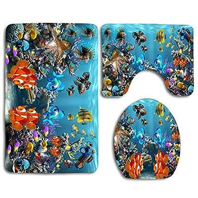 EnmindonglJHO Aquarium Fish Tank Sea Life (2) Bathroom Rug Mats Set 3 Piece Toilet Carpet Rugs Includes Contour Mat and Lid Cover, Non Slip Mats for Tub Shower