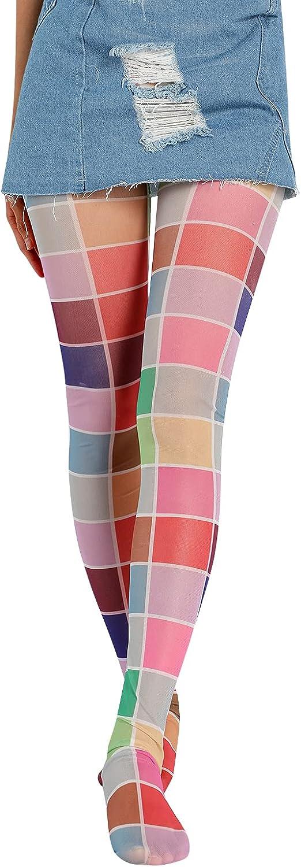 Womens Girls Novelty Mesh Stockings 90s Printed Funky Tights Tie Dye Mesh Pantyhose Skinny Leggings