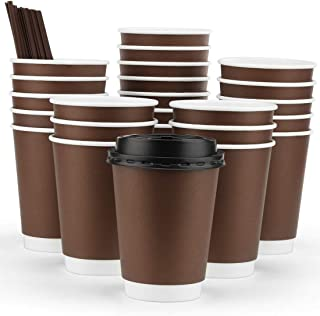 Eupako 12 oz Disposable Coffee Cups With Lids and Straws, Paper Coffee Cups, To Go Coffee Cup, Insulated Travel Cup, Double Wall Cups (Brown, 50 Set)
