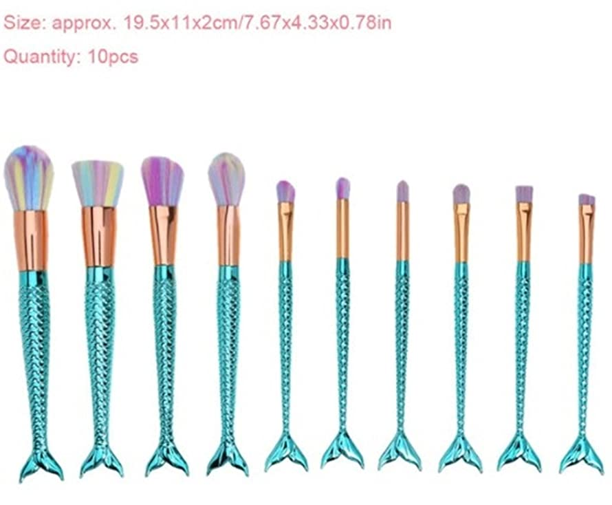 10 Pcs Colorful Mermaid Makeup Brush Set Eyeshadow Blending Powder Make Up Tool Foundation Natural Beauty Palettes Graceful Popular Eyes Face Rainbow Hair Highlights Glitter Kids Travel Kit, Type-05
