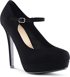 Jerusalem Womens High Platform Closed Toe Mary Jane Pumps Buckle Strap High Heel Shoes