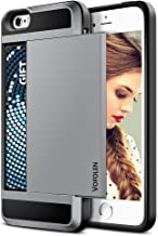 Vofolen Case for iPhone 5S Case iPhone SE Case Impact Resistant iPhone 5 Wallet Case Hybrid Bumper Armor Snap-on Black Soft Rubber Cover Protective Shell Card Holder Slot for iPhone 5 5S SE - Grey