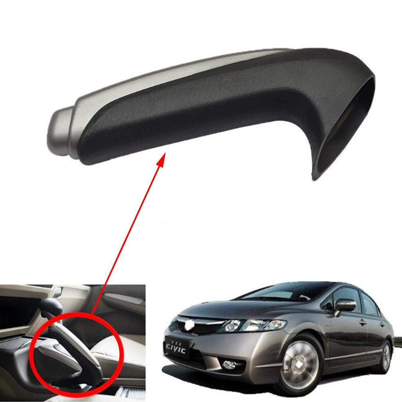 ANTS PART Parking Brake Handle Grip and Knob Set Fits for 2006-2011 Honda Civic #47115-SNA-A82ZA