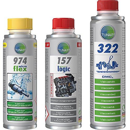 TUNAP Kit Completo per tagliando Benzina 974 957 322 Pulizia iniettori, Pulizia del Motore e del Circuito di lubrificazione, Trattamento viscosità Olio Nuovo