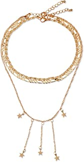 zzhx Jewelry Accessories Punk Gold Color Star Tassel Necklace for Couple Lovers' Girl Gift
