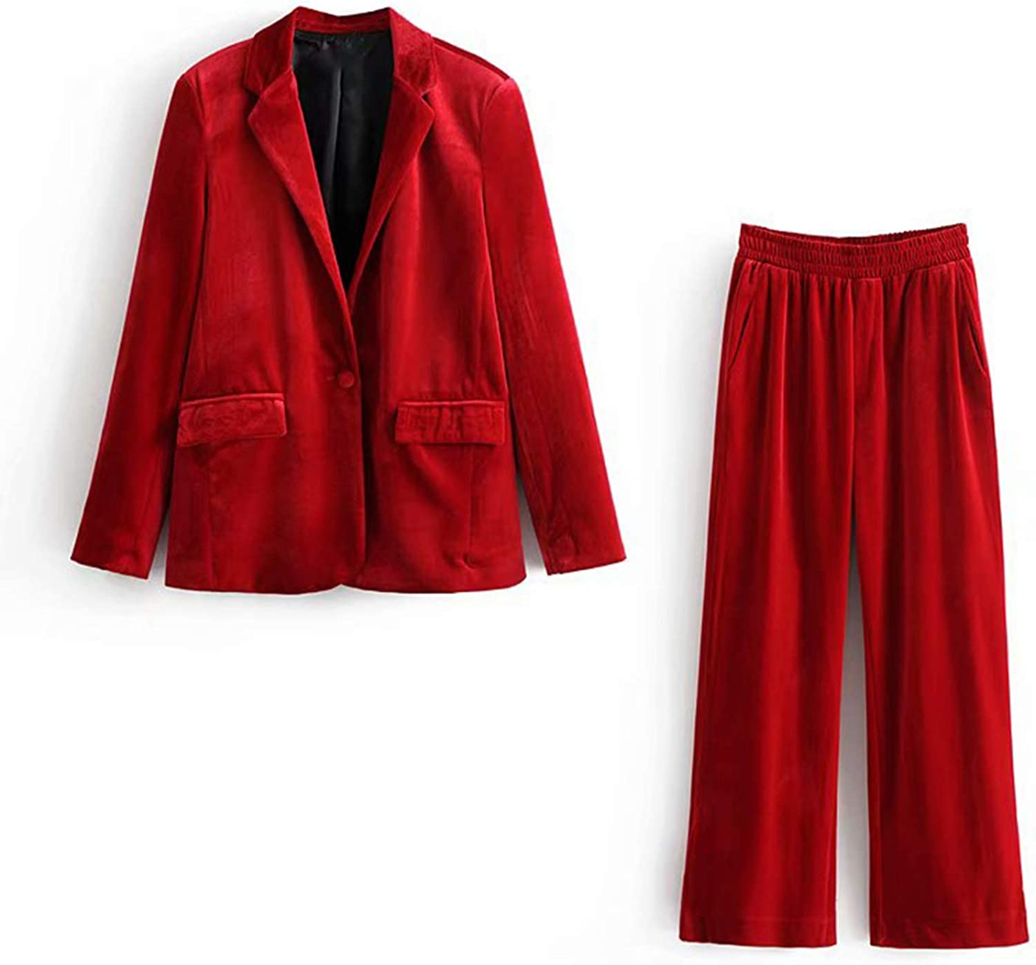 Aancy Spring Blazer Set 2019 Casual Velvet Womens Clothing Two Piece Set Blazer Suit Women 2 Piece Set Women
