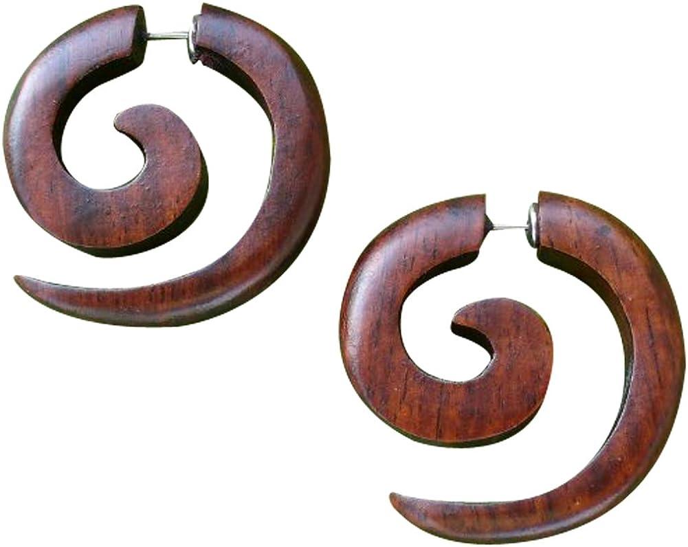 Tribal Organic Wooden Earrings Fake Gauge earrings hippie natural black brown wood earrings faux plugs tapers emo goth punk earrings spiral gothic earrings 316L surgical steel hypoallergenic earring