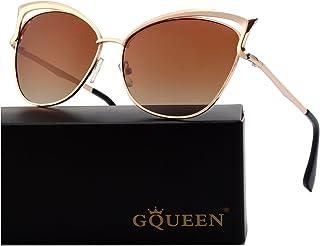 c0235de4a7 GQUEEN Lunettes de soleil polarisé Oeil de Chat Fashion Mode Classique cat  eye Miroir Réfléchissantes cadre