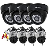 KKmoon 4PCS Cámara en Domo 720P Cámara CCTV Kit de Seguridad + 4pcs 60ft Cable de Video IR-Cut Sistema PAL de Vigilancia, Negro