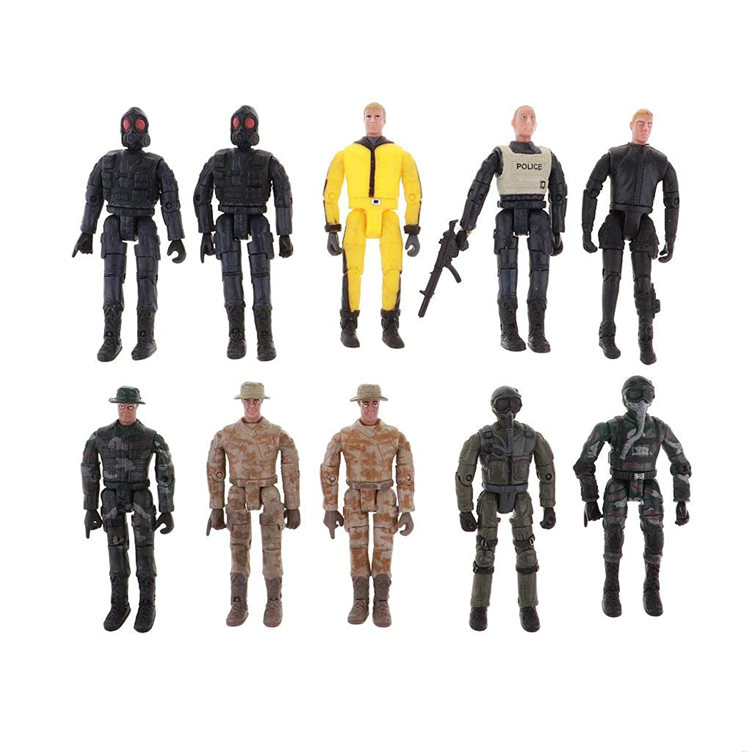 FRECI 10pcs Military Model Soldiers Figures Model Building Kits DIY Layout Scenery