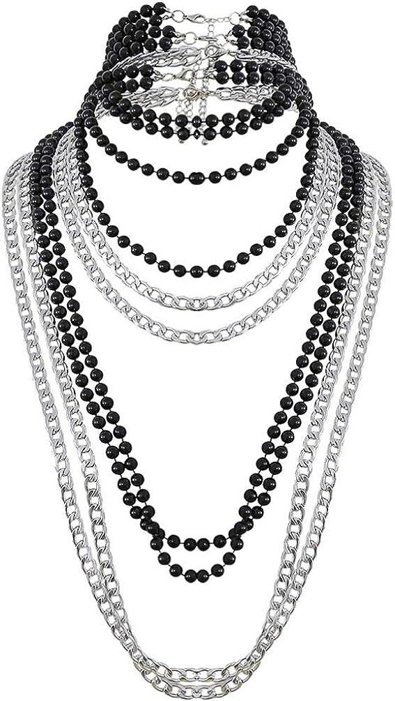 Happyyami Multi-Layer Bead Statement Necklace Collar Necklace Vintage Necklace (Black)