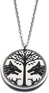 Ciondolo lupo vichingo, collana in acciaio inossidabile con simbolo Fenrir nordico gioiello regalo