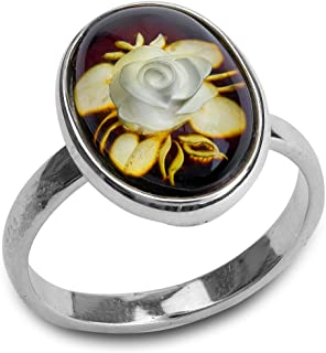Ian and Valeri Co. Amber Sterling Silver Cameo Rose Ring