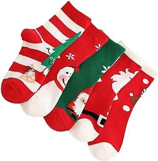 NUOBESTY, 5 Pares de Calcetines de Navidad para Niños Calcetines Cálidos de Invierno de Navidad Novedad Medias de Navidad Calcetines Niños Pequeños Niños