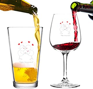 Happy Anniversary! Beer Pint and Wine Glass- Romantic Glassware Set - Made in USA – Cool Present Idea for Wedding Anniversary, Married Couples, Him or Her, Mr. or Mrs.