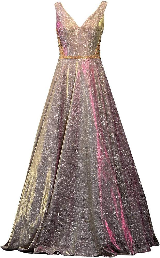 Esmedala Tyy Women's Glitter Satin Prom Dresses Long V-Neck Formal Evening Gown