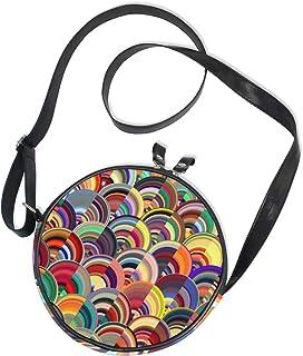 Ahomy Damen-Umhängetasche, rund, abstrakt, mehrfarbig, Marmor