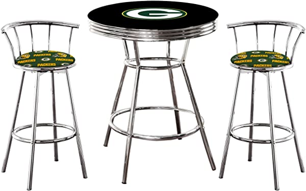 3 Piece Black Pub Bar Table With Team Logo And 2 29 Tall Swivel Stools Featuring Your Favorite Football Team Upholstered Seat Cushions Packers