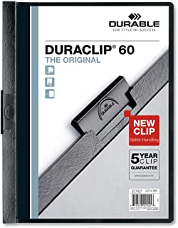 Durable Vinyl Duraclip Report Cover W/Clip, Letter, Holds 60 Pages, Clear/Black, 25/Box