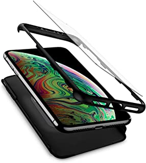 Spigen Thin Fit 360 Designed for Apple iPhone Xs MAX Case (2018) Tempered Glass Screen Protector Included - Black