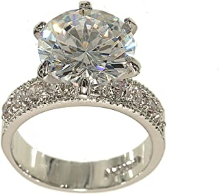 Huge Silvertone Round Engagement Ring Style in Clear Cubic Zirconia with Four Stones on Each Side