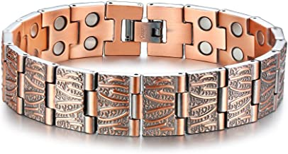 VNOX 15MM Matte Fished Pure Solid Copper Double Row Power Magnetic Therapy Link Adjustable Bracelet Wristband