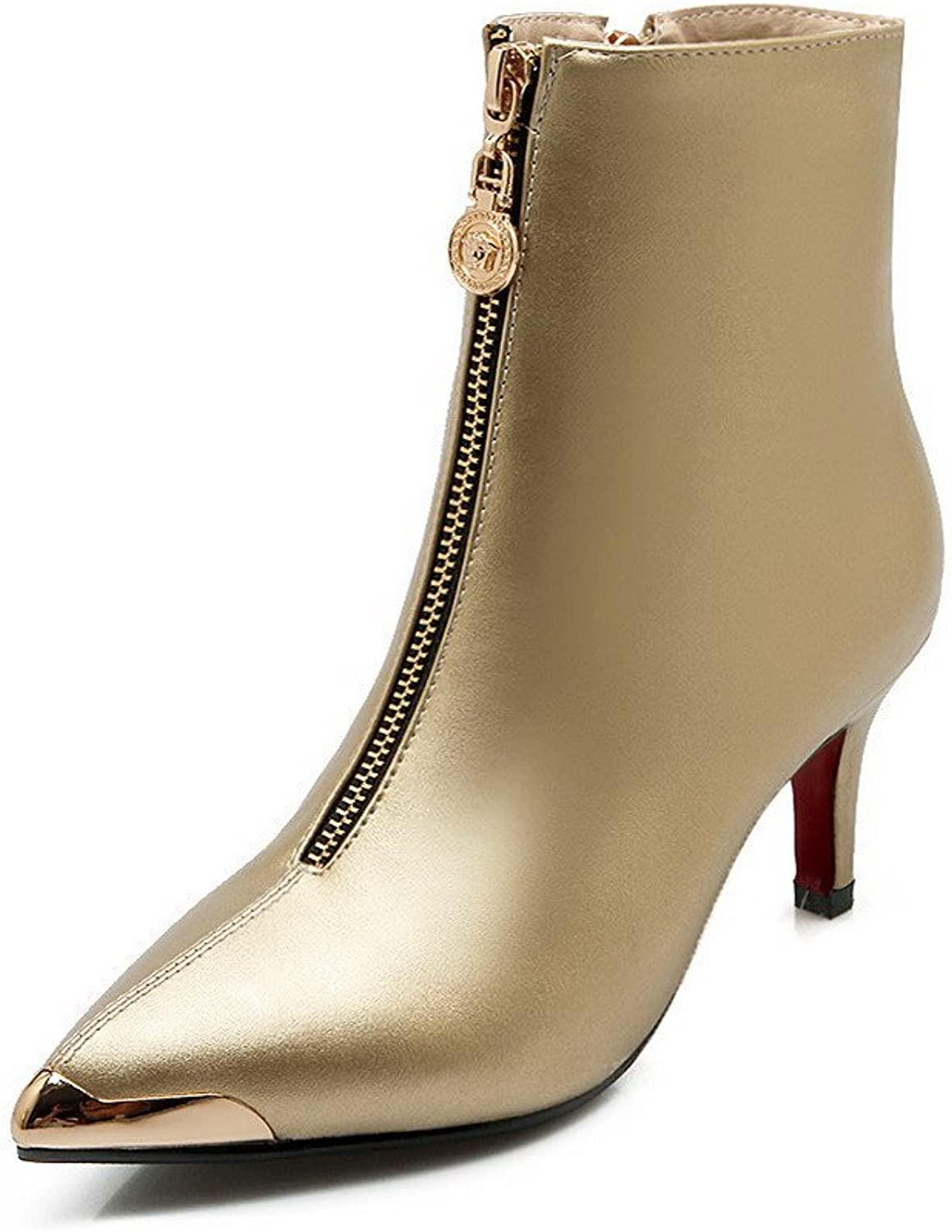 AmoonyFashion Women's Pointed-Toe Closed-Toe High-Heels Boots with Metal Decoration