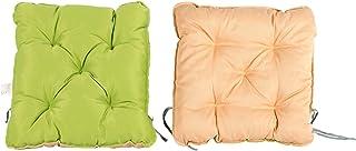 Meerweh - Juego de 2 Cojines para sillón (50 x 50 x 10 cm), diseño nórdico, Color Verde y Beige