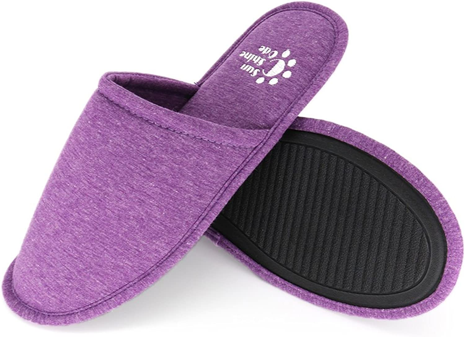 SunnyCode Women's Cotton House Washable Slippers with Travel Bag