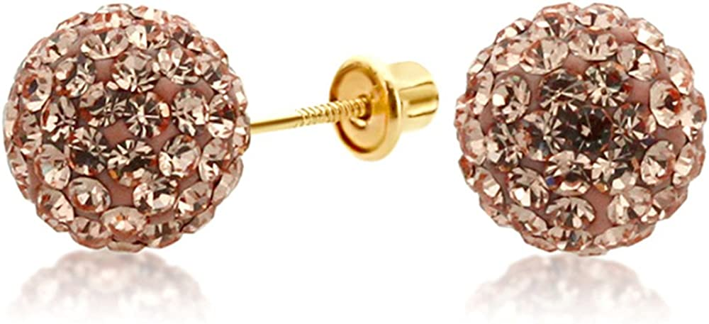 14K Yellow Gold Peach Color Crystal Ball Stud Earrings Screwback (Available 6mm, 8mm)