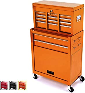 Large Capacity Rolling Tool Chest Removable Tool Storage Cabinet With 8 Sliding Drawers,Detachable Tool Cabinet,Lockable System Toolbox Organizer,Orange