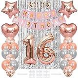 Xihuimay Bandera para 16 cumpleaños, decoración de cumpleaños 16 años edad suministros para fiesta de cumpleaños cortina número 16 confeti látex helio globo estrella en forma corazón, oro rosa