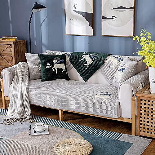 Homeen husse Sofa,sofabezug ecksofa,Plüsch rutschfeste Couch Cover,2/3/4 Sitzer Sofa Protector,Herbst Winter Couch Slipcover für Ecksofa/l Eckcouch-grau 90 * 180 cm.