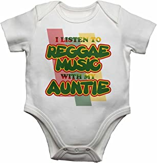I Listen to Reggae Music With My Auntie - Baby Vests Bodysuits Baby Grows Personalised Graphic for Music Lover - Boys, Girls - White - 12-18 Months