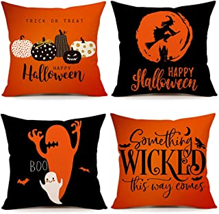 Burnt Orange Halloween Quote Throw Pillow Covers Farmhouse Cushion Case for Sofa Couch 18 x 18 Inches Cotton Linen Set of 4(Pumpkin, Witch, Boo, Something Wicked This Way Comes)